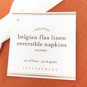 Pottery Barn Dining - Pottery Barn Belgian Flax Linen Reversible Napkins